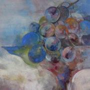 当ワイナリーの古酒のラベルの原画を手掛けた安藤樹里氏の個展『葡萄』